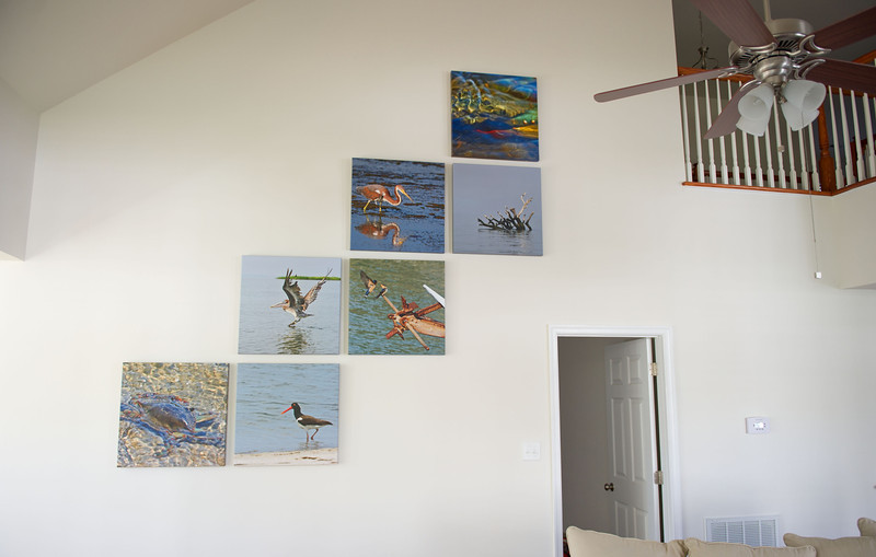 """Example of a custom designed collage installation. These are 24""""x24"""" Canvas Gallery Wraps"""