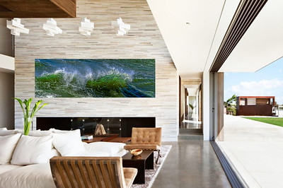Contemporary room with wave scape
