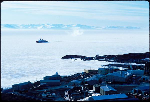 Icebreaker coming to McMurdo Station, Antarctica, 1995