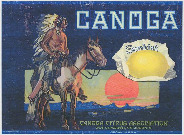 Facsimile of Sunkist & Canoga Citrus Association crate label, ca.1928