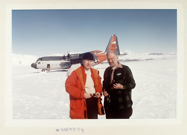James H. Zumberge (left) with Charles Swithinbank (right) near Beardmore Glacier, ca.1984