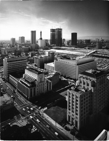 Birdseye view showing the Times Building and an intersection of First Street and Spring Street, Los ANgeles, after 1948