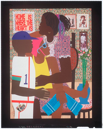 """Appliqué of """"Home is where the heart is"""" by Varnette P. Honeywood, after 1970"""