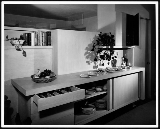 Interior view of the Erlik House, Los Angeles, 1950