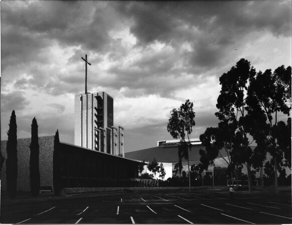 Crystal Cathedral campus: parking lot, Tower of Hope and Arboretum, Garden Grove, ca.1980