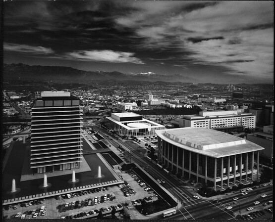 Birdseye view of Dorothy Chandler Pavilion and Mark Taper Forum, Los Angeles, ca.1970