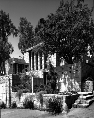 Exterior view of the Storer House, West Hollywood (previously Sherman), 1923