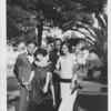 """Away from studies,"" photograph of University of Southern California students Edwin Jefferson, Mattie Pearl Hawkins, Warner Wright, and Willia B. Nickerson."