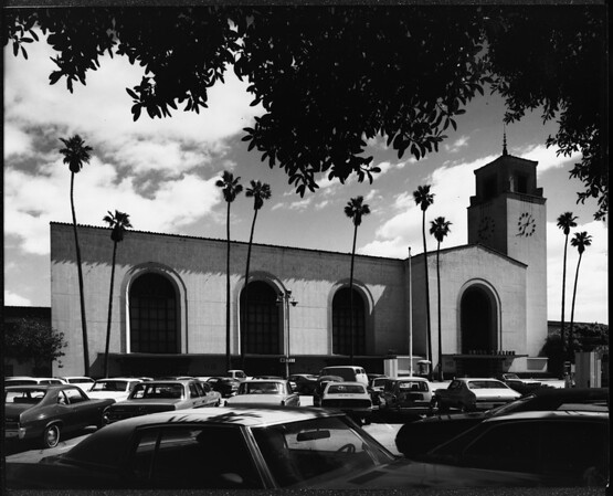 Los Angeles Union Station and a parking lot in front of it, Los ANgeles, ca.1970