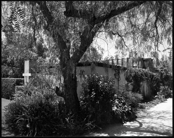 Exterior view of the R.M. Schindler residence, West Hollywood (previously Sherman), 1921-1922
