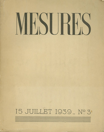"""Cover, table of contents, and """"The wine menagerie"""" from Mesures, no. 3, 1939"""
