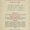 """Cover of Fontaine, deuxième édition, """"Écrivains & poètes des États-Unis"""", 1945"""