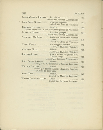 "Cover, table of contents, and ""The wine menagerie"" from Mesures, no. 3, 1939"