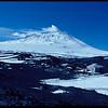 Ernest Shackleton's hut, with Mount Erebus in background, Antarctica, 1981