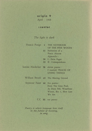 """Table of contents of Origin, series 3, no.9, """"The light is dark"""" 1968"""
