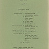 "Table of contents of Origin, series 3, no.9, ""The light is dark"" 1968"