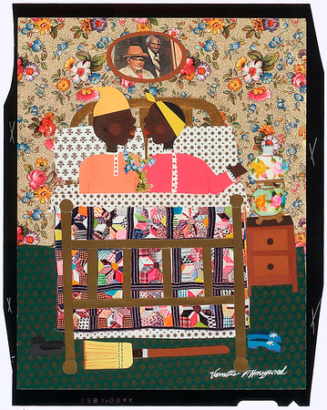 Appliqué of a husband and wife in bed by Varnette P. Honeywood, after 1970
