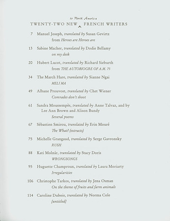 "Table of contents of ""Twenty-two new to North America French writers"", [s.d.]"