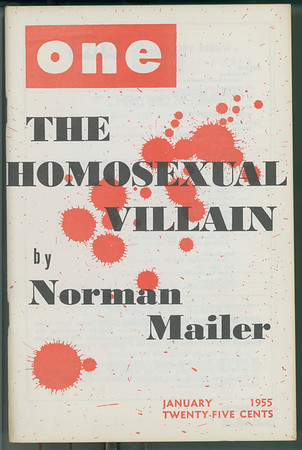 """Cover of One magazine featuring """"The homosexual villain"""", by Norman Mailer, 1955"""