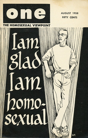 """Cover of August 1958 issue of """"One magazine, the homosexual viewpoint"""""""