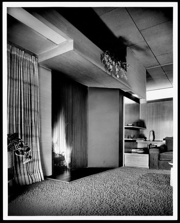 Interior view of the Falk Apartments, Los Angeles, 1939-1940