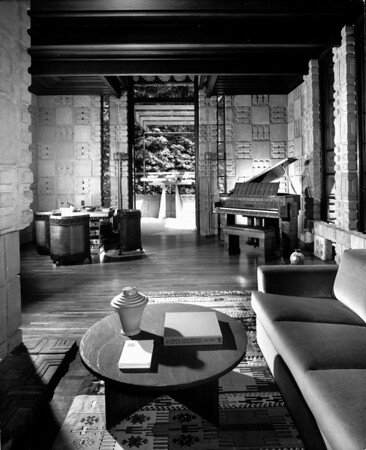 Interior view of the Storer House, West Hollywood (previously Sherman), 1923
