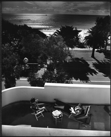 A view from the Shangri-La Hotel's terrace, Santa Monica, ca.1940