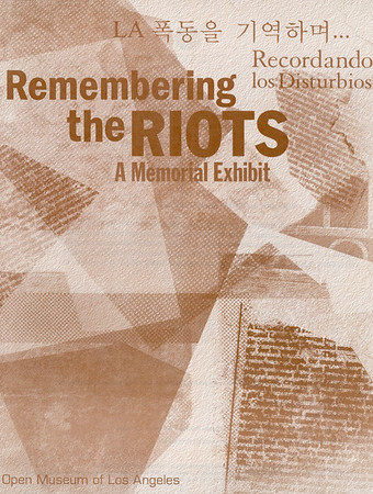 """Cover of """"Remembering the riots: a memorial exhibit"""", 2002"""