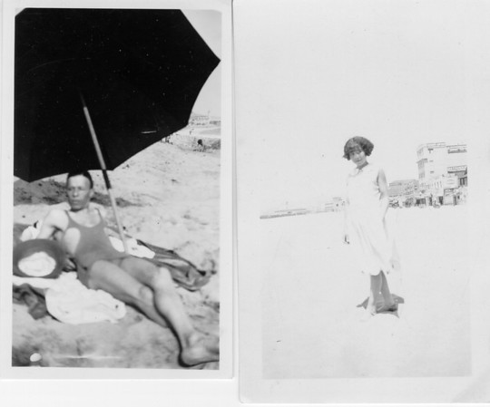 Photographs of Edwin Jefferson and Mattie Pearl Hawkins at Venice Beach [?], California, mid 1920's.