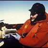 Professor David Caron holding an ice core sample from the Antarctic, 1999