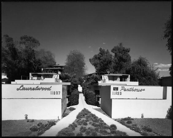 Exterior view of the Laurelwood Apartments, Studio City, 1948