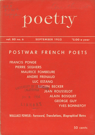 Cover of Poetry, vol. 80, no. 6, 1952