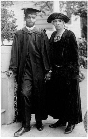 Bert McDonald and mother Mrs. Watson McDonald at University of Southern California Law graduation, June 1924