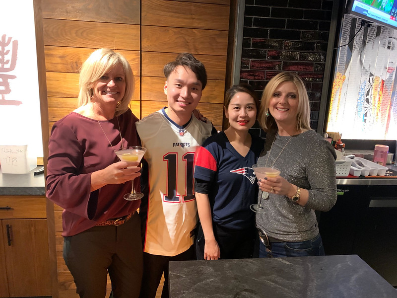 From left, Cheryl Popp of Westford, Wang Zhang of Kama's Lawrence location and wife Rachel Zhang of Quincy, and Christine Hart of Westford