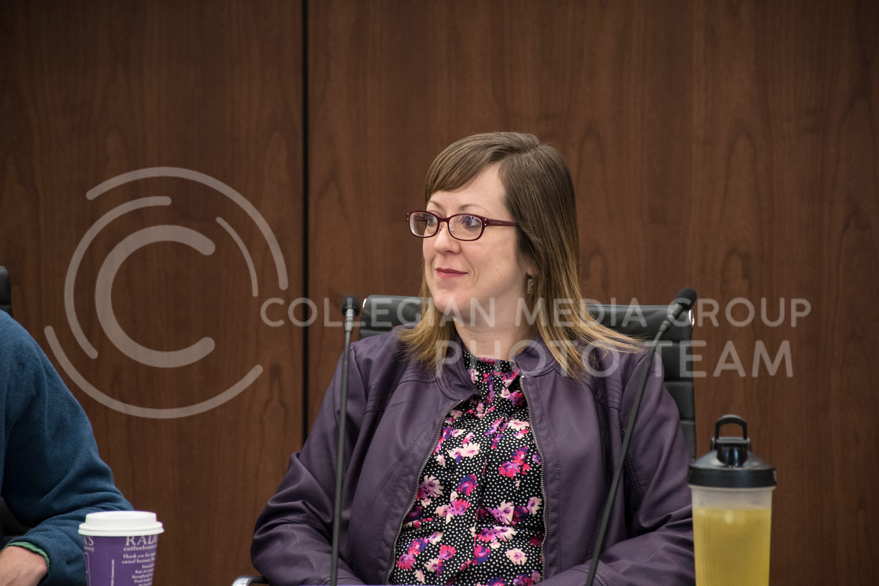 Lindsay Kubina speaks on a panel for Exceptional Students in Higher Education in the College of Business Building at Kansas State, in Manhattan, KS, on Nov. 2, 2017. (Olivia Bergmeier   Collegian Media Group)