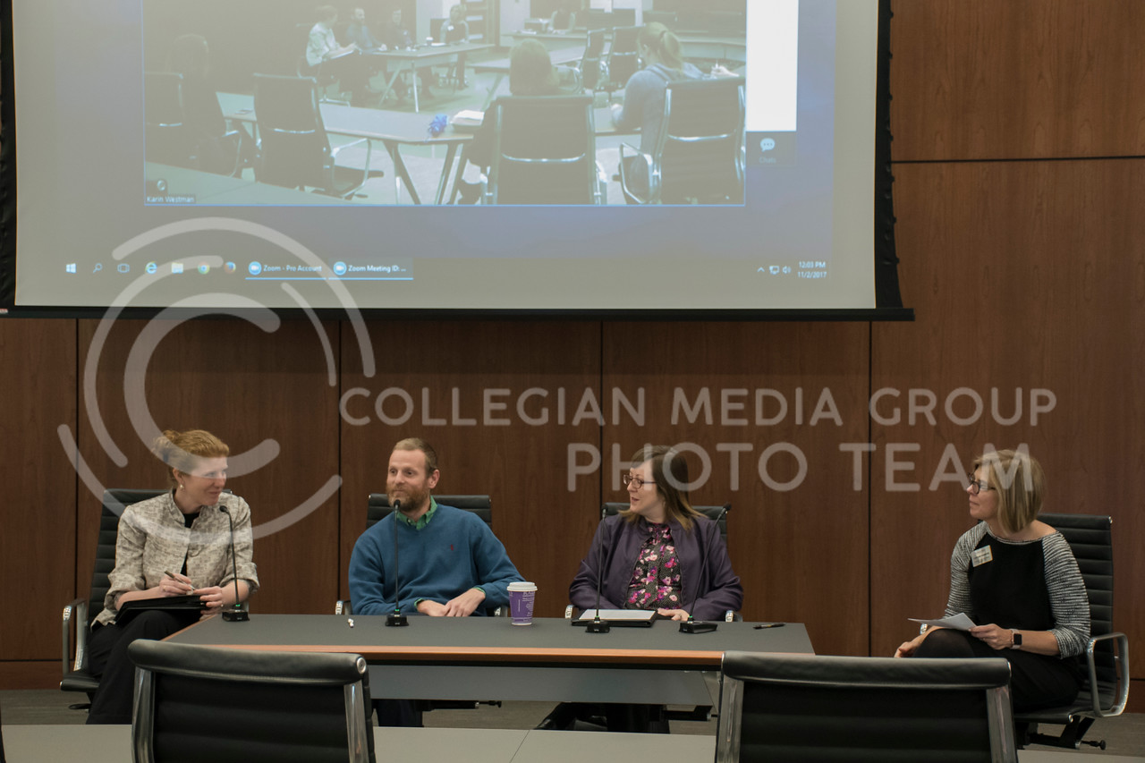 Molly McGoughey, Scott Voos, and Lindsay Kubina speak at a panel for Exceptional Students in Higher Education in the College of Business Building at Kansas State, in Manhattan, KS, on Nov. 2, 2017. (Olivia Bergmeier | Collegian Media Group)