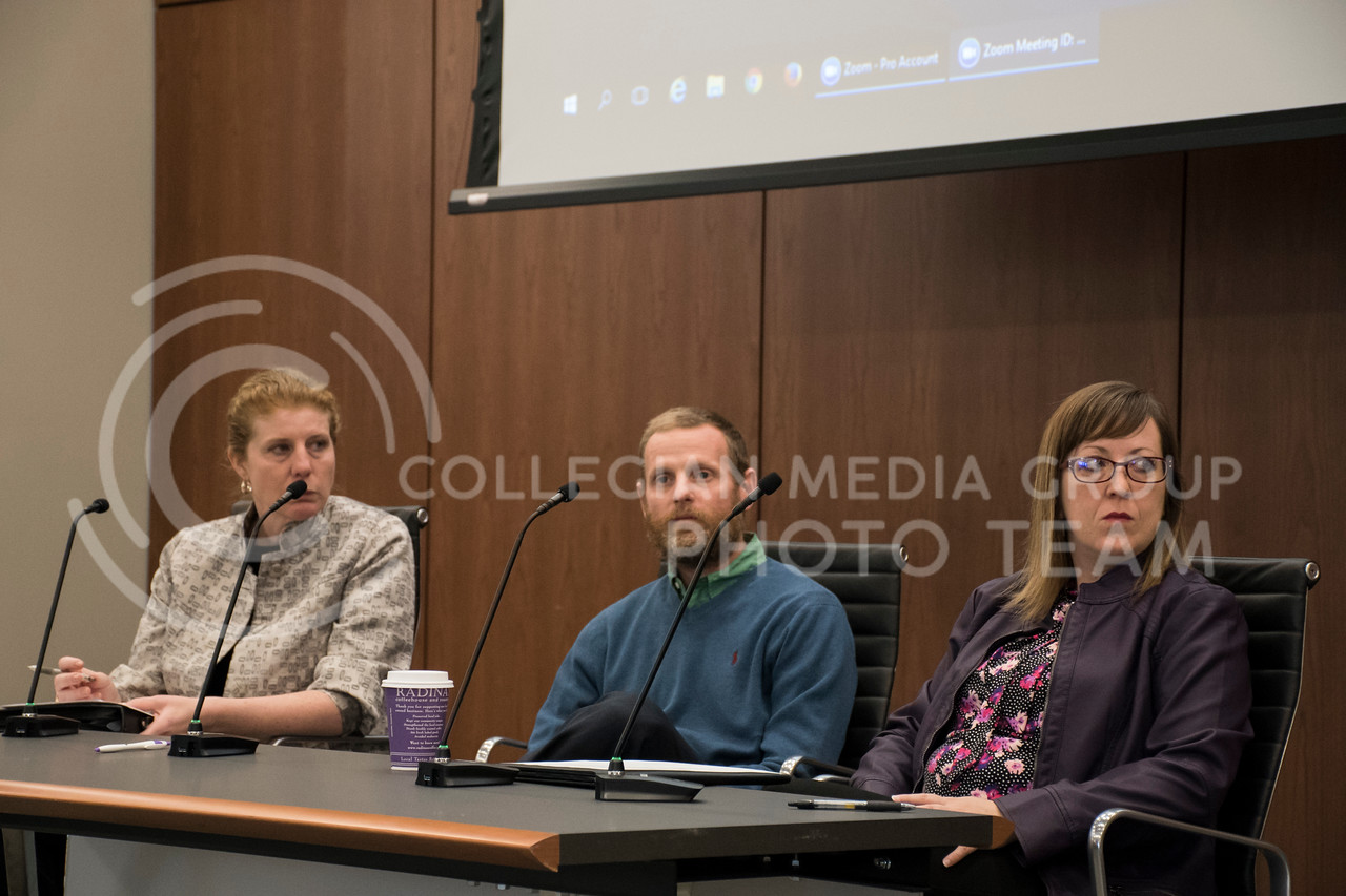 Molly McGoughey, Scott Voos, and Lindsay Kubina speak at a panel for Exceptional Students in Higher Education in the College of Business Building at Kansas State, in Manhattan, KS, on Nov. 2, 2017. (Olivia Bergmeier   Collegian Media Group)