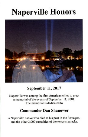 "9/11 Tribute Ceremony - 16th Year Anniversary - Naperville, Illinois - 2017 - Lanson W. ""Lanny"" Russell was our guest speaker"