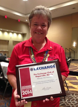 Exchange Club of Naperville - Best Website Award - National Convention - Accepted by Club President Dawn Portner - 2014