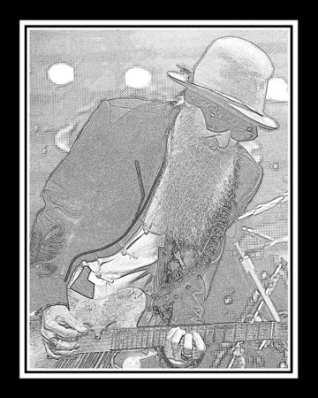Ribfest - 2012 - Naperville, Illinois - ZZ Top - Pencil Sketch - Print as 8x10