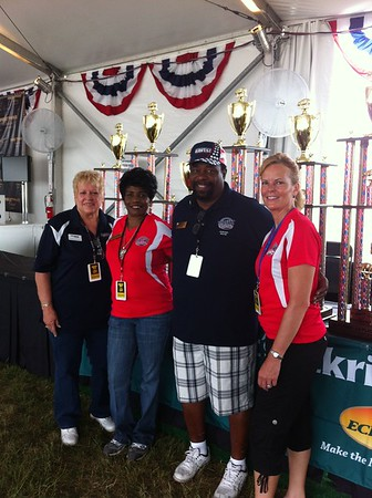 Exchange Club of Naperville - L to R: Liaison to National for RIBFEST Sandy Southworth, First Lady Claresie Mobley and husband National President Sid Mobley, Rib Judge Chair Lori Klemm - July 1, 2012