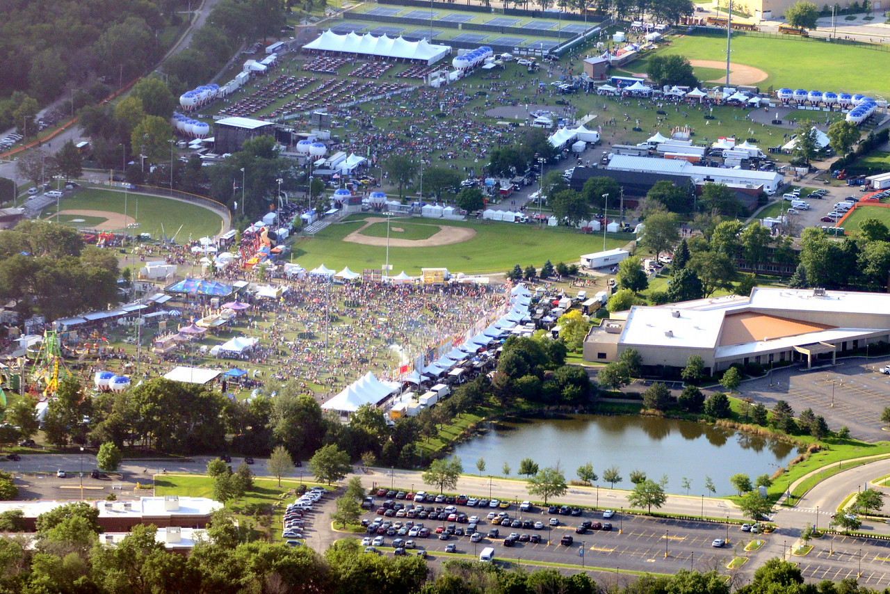 Ribfest - 2014 - Naperville, Illinois - Sponsored by the Exchange Club of Naperville - Aerial View of Ribfest
