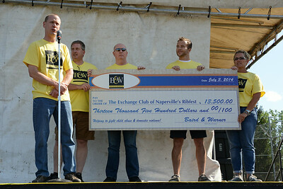 Ribfest - 2014 - Naperville, Illinois - Sponsored by the Exchange Club of Naperville - Check Presentation - B&W