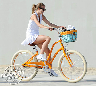 EXC: AnnaLynne McCord In Short Tennis Outfit Riding Beach Cruiser
