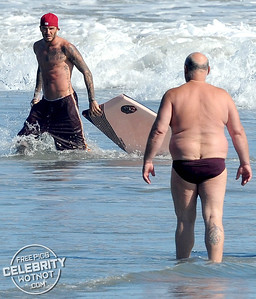 David Beckham Cops An Eyeful Of A Fellow Beachgoer In Revealing Speedos! Malibu, CA