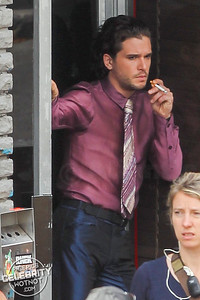 EXCLUSIVE: Kit Harington In Shiny Silk Shirt Filming The Death and Life of John F. Donovan, Montreal