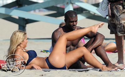 Marine Boudou and Thierry Picaut Hit The Beach For A Smooch! LA