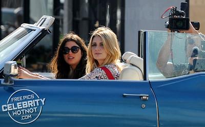 EXC: Mischa Barton In Red Dungaree Shorts Filming In LA
