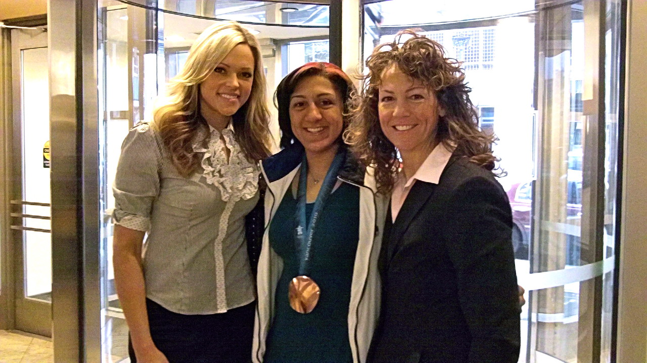 An Olympic Moment: Jennie Finch, Elana Meyers (bronze medalist Women's bobsled), and Michele at SGMA event - 2010