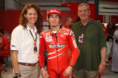 Michele, Nicky Hayden (MotoGP Racer), and General Tommy Franks in Doha, Qatar